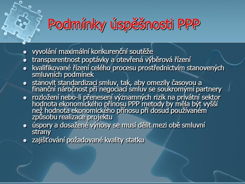 Podmínky úspěšnosti PPP vyvolání maximální konkurenční soutěže transparentnost poptávky a otevřená výběrová řízení kvalifikované řízení celého procesu