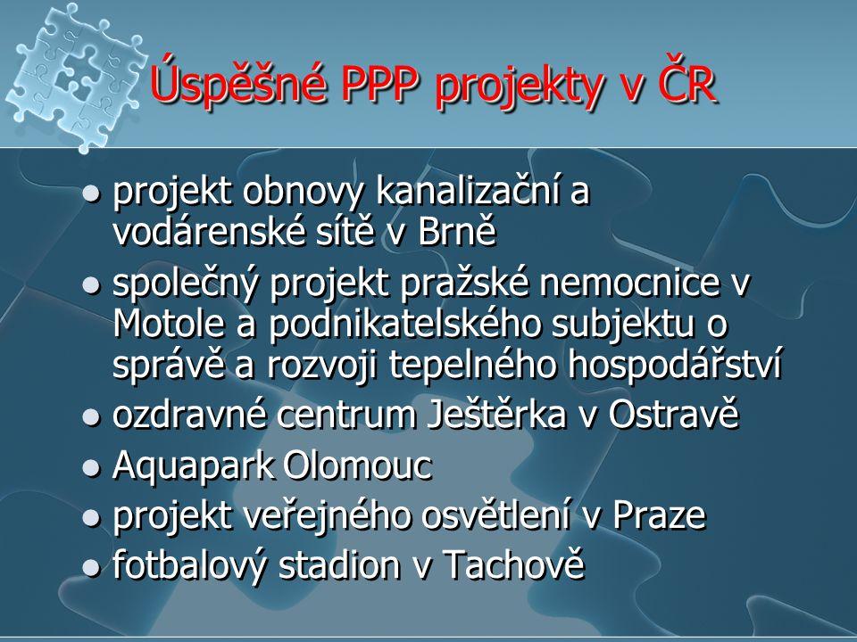Úspěšné PPP projekty v ČR projekt obnovy kanalizační a vodárenské sítě v Brně společný projekt pražské nemocnice v Motole a podnikatelského subjektu o