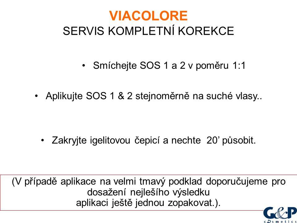 Smíchejte SOS 1 a 2 v poměru 1:1 Aplikujte SOS 1 & 2 stejnoměrně na suché vlasy.. Zakryjte igelitovou čepicí a nechte 20' působit. (V případě aplikace
