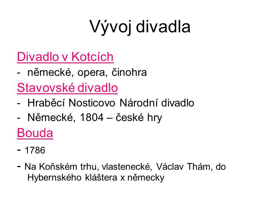 Vývoj divadla Divadlo v Kotcích -německé, opera, činohra Stavovské divadlo -Hraběcí Nosticovo Národní divadlo -Německé, 1804 – české hry Bouda - 1786