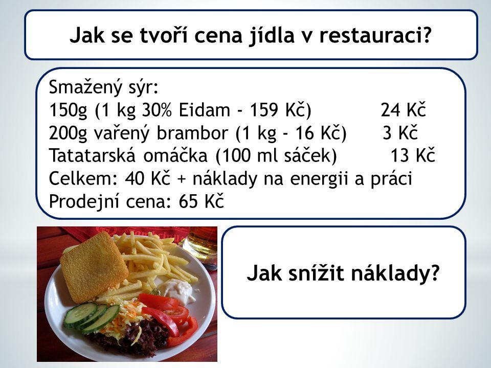 Smažený sýr: 150g (1 kg 30% Eidam - 159 Kč) 24 Kč 200g vařený brambor (1 kg - 16 Kč) 3 Kč Tatatarská omáčka (100 ml sáček) 13 Kč Celkem: 40 Kč + náklady na energii a práci Prodejní cena: 65 Kč Jak snížit náklady.