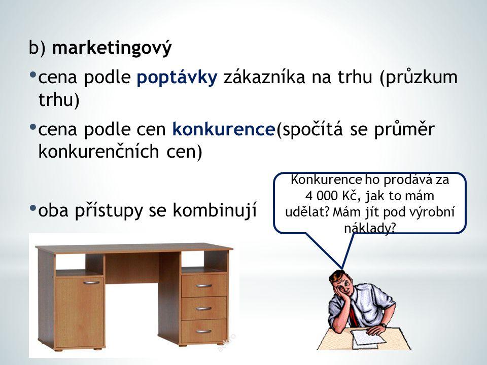 b) marketingový cena podle poptávky zákazníka na trhu (průzkum trhu) cena podle cen konkurence(spočítá se průměr konkurenčních cen) oba přístupy se ko