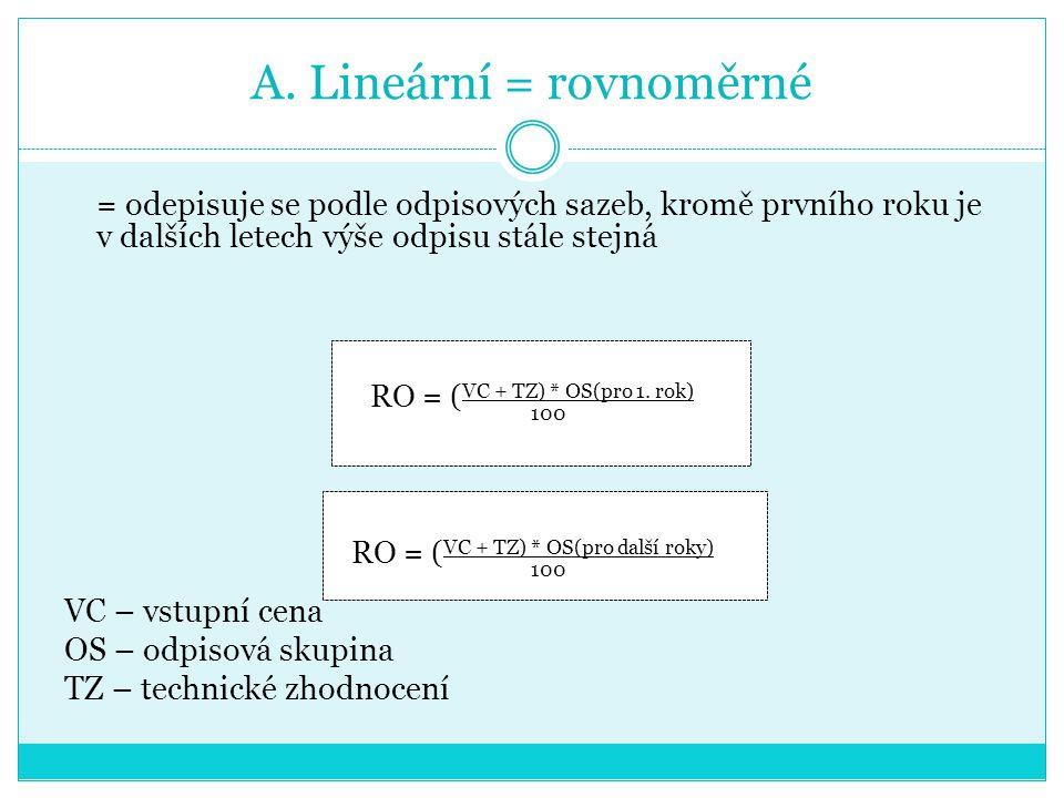 A. Lineární = rovnoměrné = odepisuje se podle odpisových sazeb, kromě prvního roku je v dalších letech výše odpisu stále stejná RO = ( VC + TZ) * OS(p