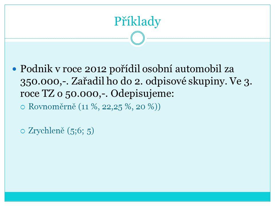 Příklady Podnik v roce 2012 pořídil osobní automobil za 350.000,-. Zařadil ho do 2. odpisové skupiny. Ve 3. roce TZ o 50.000,-. Odepisujeme:  Rovnomě
