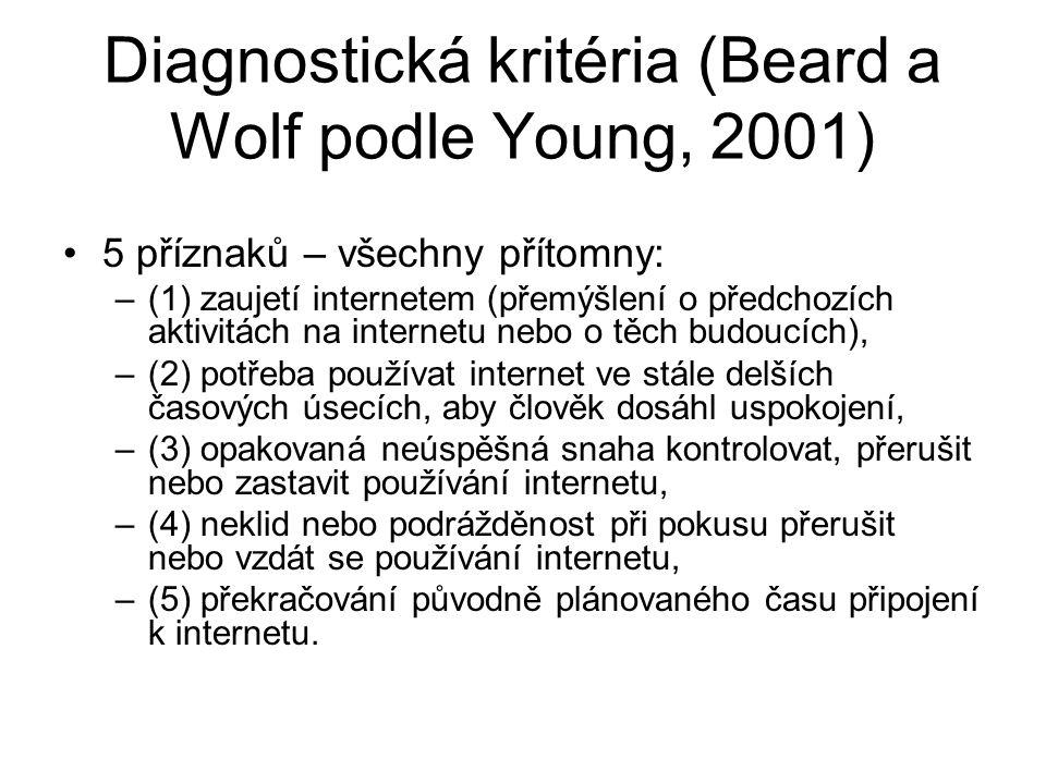 Diagnostická kritéria (Beard a Wolf podle Young, 2001) 5 příznaků – všechny přítomny: –(1) zaujetí internetem (přemýšlení o předchozích aktivitách na internetu nebo o těch budoucích), –(2) potřeba používat internet ve stále delších časových úsecích, aby člověk dosáhl uspokojení, –(3) opakovaná neúspěšná snaha kontrolovat, přerušit nebo zastavit používání internetu, –(4) neklid nebo podrážděnost při pokusu přerušit nebo vzdát se používání internetu, –(5) překračování původně plánovaného času připojení k internetu.