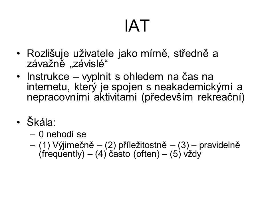 """IAT Rozlišuje uživatele jako mírně, středně a závažně """"závislé Instrukce – vyplnit s ohledem na čas na internetu, který je spojen s neakademickými a nepracovními aktivitami (především rekreační) Škála: –0 nehodí se –(1) Výjimečně – (2) příležitostně – (3) – pravidelně (frequently) – (4) často (often) – (5) vždy"""