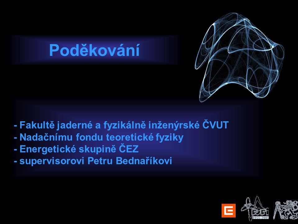Poděkování - Fakultě jaderné a fyzikálně inženýrské ČVUT - Nadačnímu fondu teoretické fyziky - Energetické skupině ČEZ - supervisorovi Petru Bednaříkovi