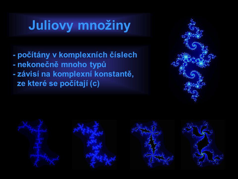 Juliovy množiny - počítány v komplexních číslech - nekonečně mnoho typů - závisí na komplexní konstantě, ze které se počítají (c)