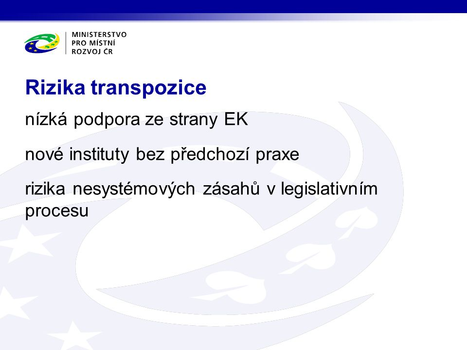 nízká podpora ze strany EK nové instituty bez předchozí praxe rizika nesystémových zásahů v legislativním procesu Rizika transpozice