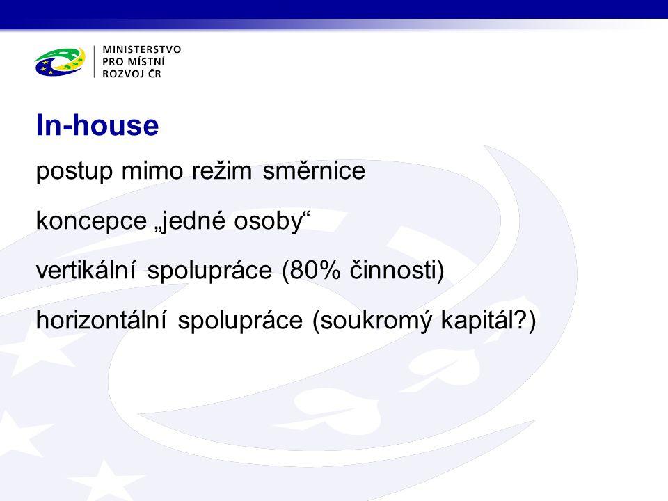 """postup mimo režim směrnice koncepce """"jedné osoby vertikální spolupráce (80% činnosti) horizontální spolupráce (soukromý kapitál ) In-house"""