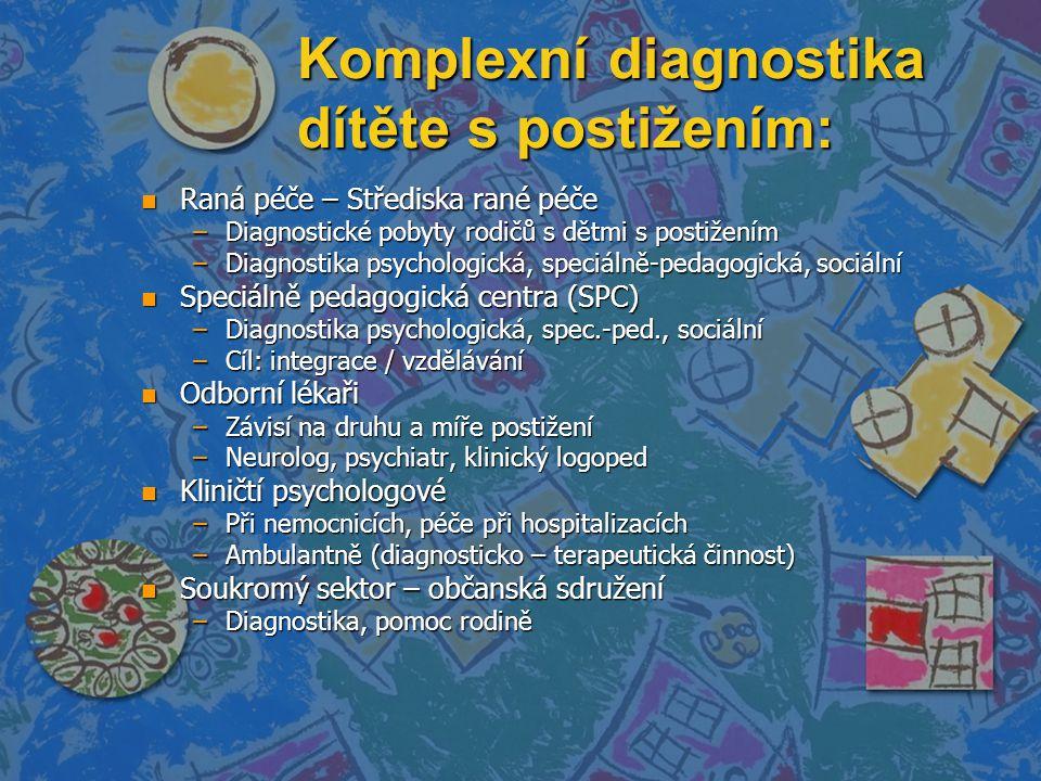 Komplexní diagnostika dítěte s postižením: n Raná péče – Střediska rané péče –Diagnostické pobyty rodičů s dětmi s postižením –Diagnostika psychologická, speciálně-pedagogická, sociální n Speciálně pedagogická centra (SPC) –Diagnostika psychologická, spec.-ped., sociální –Cíl: integrace / vzdělávání n Odborní lékaři –Závisí na druhu a míře postižení –Neurolog, psychiatr, klinický logoped n Kliničtí psychologové –Při nemocnicích, péče při hospitalizacích –Ambulantně (diagnosticko – terapeutická činnost) n Soukromý sektor – občanská sdružení –Diagnostika, pomoc rodině