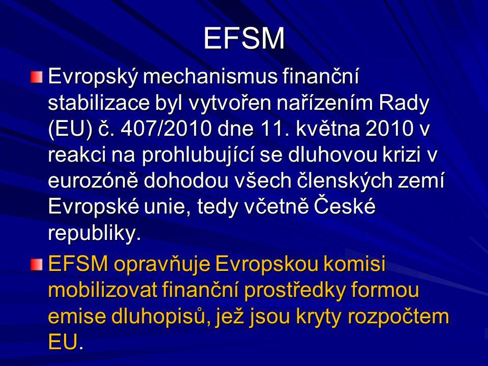 EFSM Evropský mechanismus finanční stabilizace byl vytvořen nařízením Rady (EU) č. 407/2010 dne 11. května 2010 v reakci na prohlubující se dluhovou k