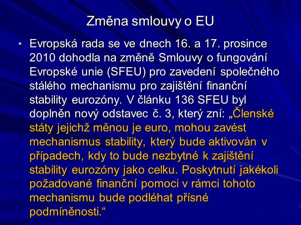 Změna smlouvy o EU Evropská rada se ve dnech 16. a 17.