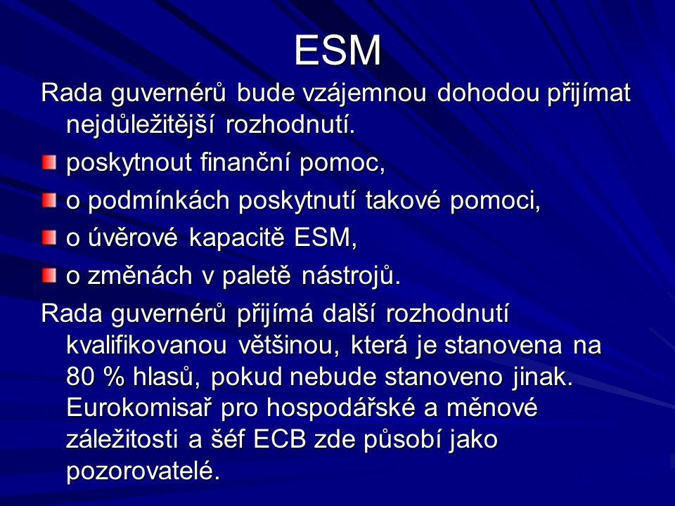 ESM Rada guvernérů bude vzájemnou dohodou přijímat nejdůležitější rozhodnutí. poskytnout finanční pomoc, o podmínkách poskytnutí takové pomoci, o úvěr