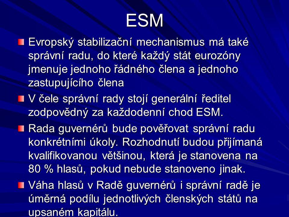 ESM Evropský stabilizační mechanismus má také správní radu, do které každý stát eurozóny jmenuje jednoho řádného člena a jednoho zastupujícího člena V