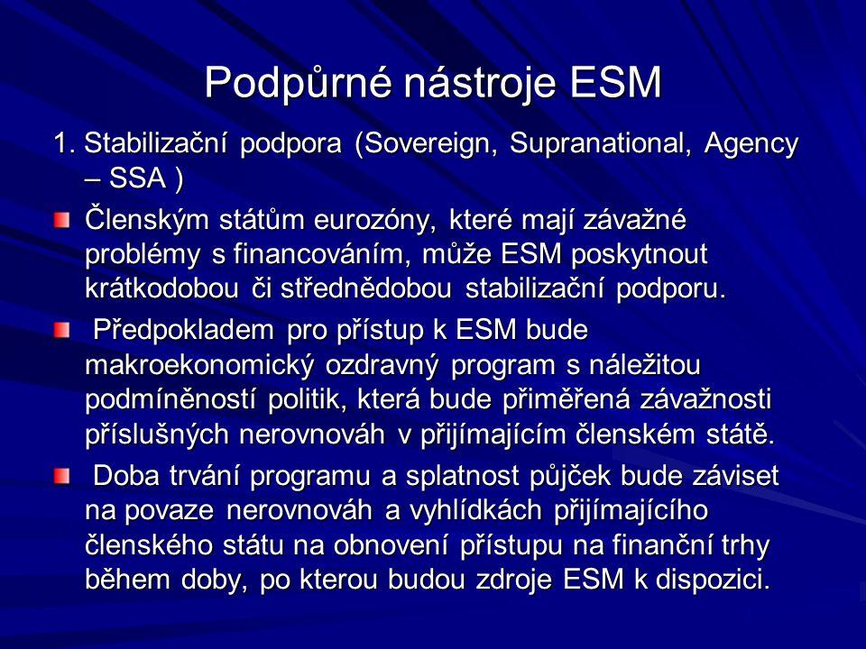 Podpůrné nástroje ESM 1. Stabilizační podpora (Sovereign, Supranational, Agency – SSA ) Členským státům eurozóny, které mají závažné problémy s financ