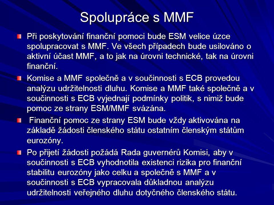 Spolupráce s MMF Při poskytování finanční pomoci bude ESM velice úzce spolupracovat s MMF. Ve všech případech bude usilováno o aktivní účast MMF, a to