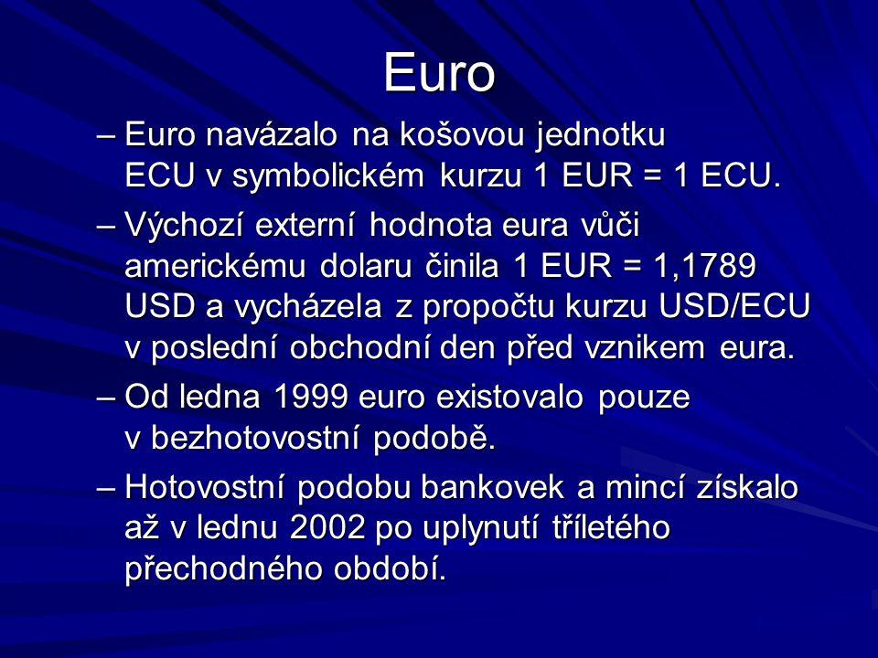 Euro –Euro navázalo na košovou jednotku ECU v symbolickém kurzu 1 EUR = 1 ECU.