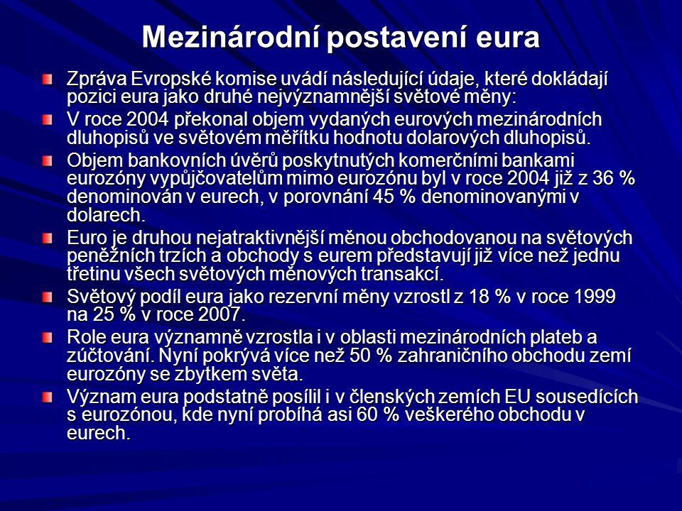 Mezinárodní postavení eura Zpráva Evropské komise uvádí následující údaje, které dokládají pozici eura jako druhé nejvýznamnější světové měny: V roce 2004 překonal objem vydaných eurových mezinárodních dluhopisů ve světovém měřítku hodnotu dolarových dluhopisů.