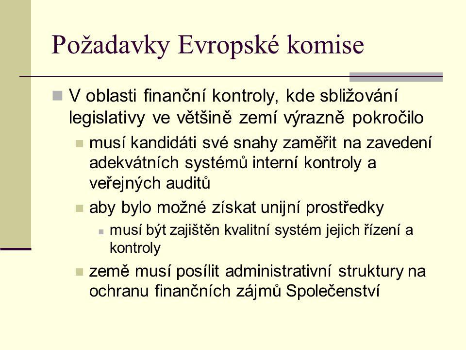 Požadavky Evropské komise V oblasti finanční kontroly, kde sbližování legislativy ve většině zemí výrazně pokročilo musí kandidáti své snahy zaměřit n