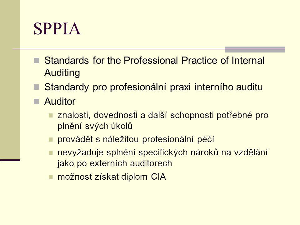 SPPIA Standards for the Professional Practice of Internal Auditing Standardy pro profesionální praxi interního auditu Auditor znalosti, dovednosti a d