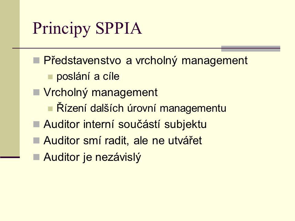 Principy SPPIA Představenstvo a vrcholný management poslání a cíle Vrcholný management Řízení dalších úrovní managementu Auditor interní součástí subj