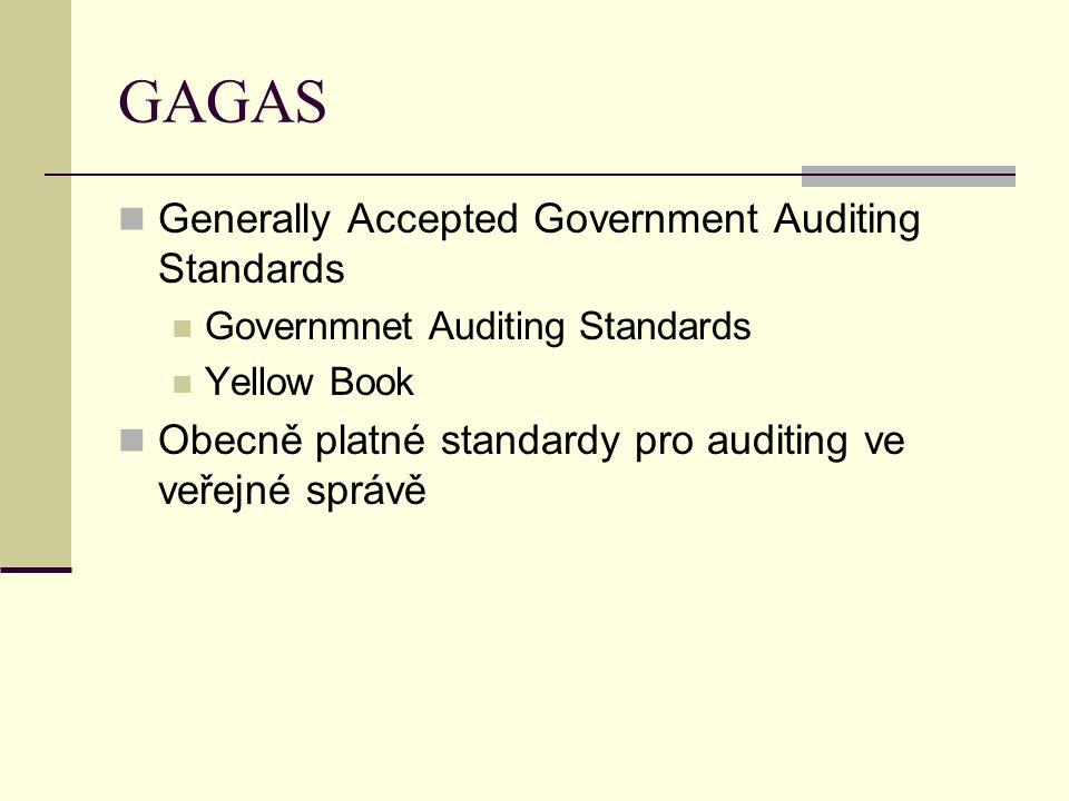 GAGAS Generally Accepted Government Auditing Standards Governmnet Auditing Standards Yellow Book Obecně platné standardy pro auditing ve veřejné správ