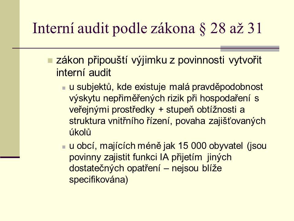 Interní audit podle zákona § 28 až 31 zákon připouští výjimku z povinnosti vytvořit interní audit u subjektů, kde existuje malá pravděpodobnost výskyt