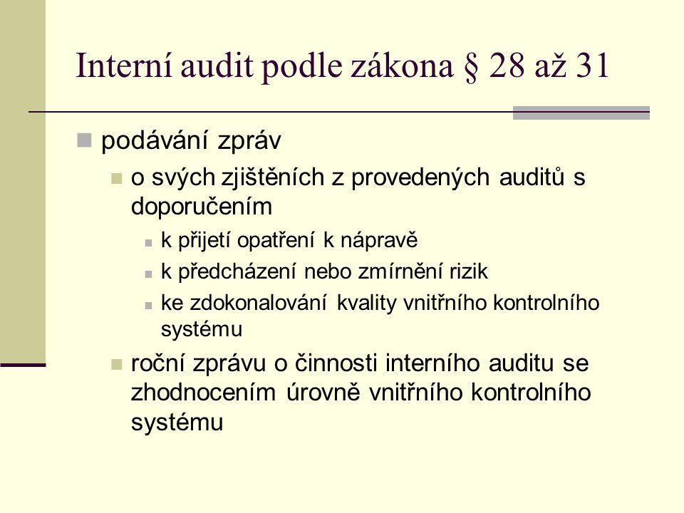 Interní audit podle zákona § 28 až 31 podávání zpráv o svých zjištěních z provedených auditů s doporučením k přijetí opatření k nápravě k předcházení
