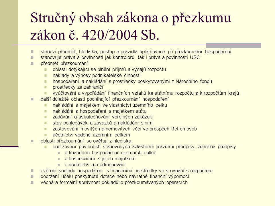 Stručný obsah zákona o přezkumu zákon č. 420/2004 Sb. stanoví předmět, hlediska, postup a pravidla uplatňovaná při přezkoumání hospodaření stanovuje p