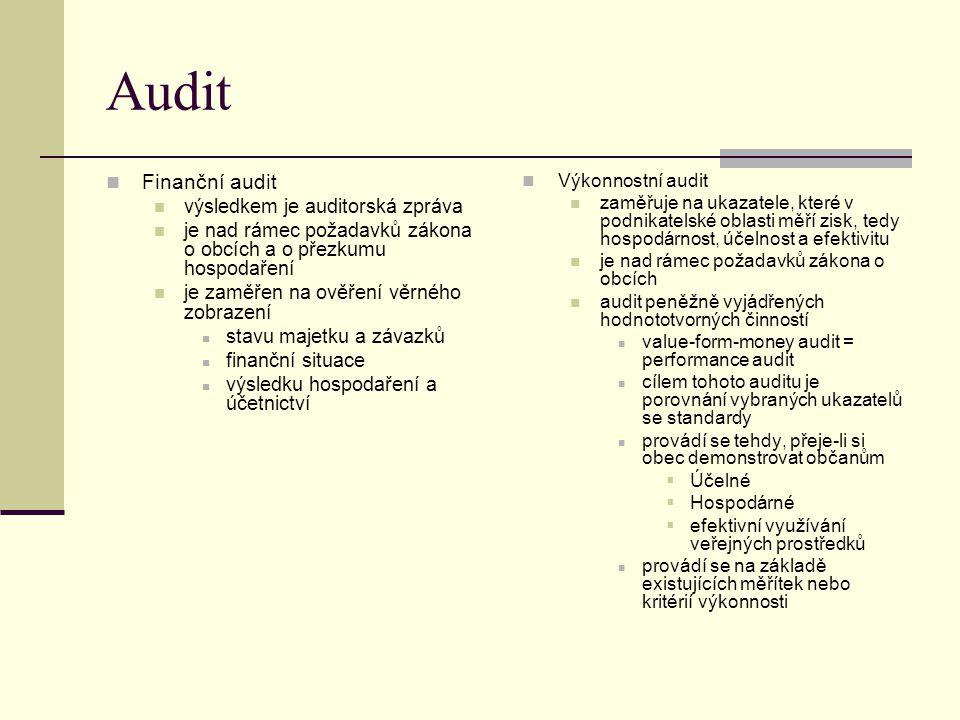 Audit Finanční audit výsledkem je auditorská zpráva je nad rámec požadavků zákona o obcích a o přezkumu hospodaření je zaměřen na ověření věrného zobr