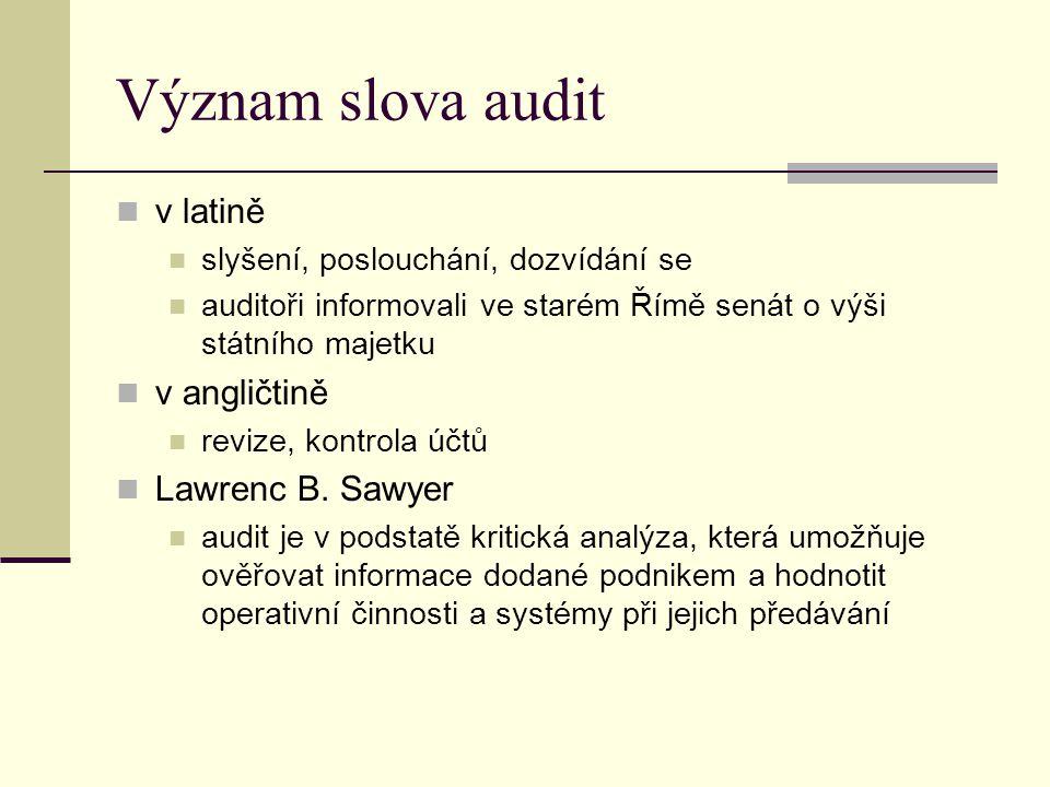 Význam slova audit v latině slyšení, poslouchání, dozvídání se auditoři informovali ve starém Římě senát o výši státního majetku v angličtině revize,