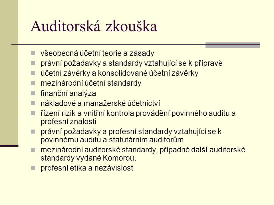 Auditorská zkouška všeobecná účetní teorie a zásady právní požadavky a standardy vztahující se k přípravě účetní závěrky a konsolidované účetní závěrk