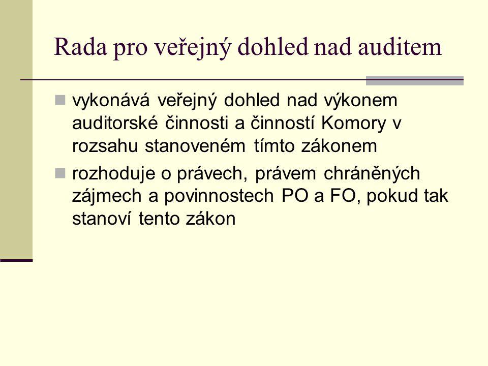 Rada pro veřejný dohled nad auditem vykonává veřejný dohled nad výkonem auditorské činnosti a činností Komory v rozsahu stanoveném tímto zákonem rozho