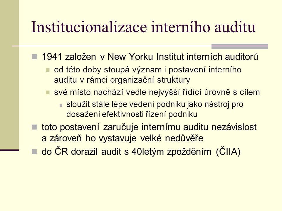 Tradiční definice auditu Interní audit je nezávislá vyhodnocovací funkce zřízená v organizaci pro zkoumání a vyhodnocování její činnosti jako služba organizaci hlavním cílem je napomáhat členům organizace při efektivním plnění jejich úkolů pro tento účel jim audit poskytuje analýzy, hodnocení, doporučení, konzultace a informace o posuzovaných činnostech podpora kontrolní činnosti v mezích rozumných nákladů