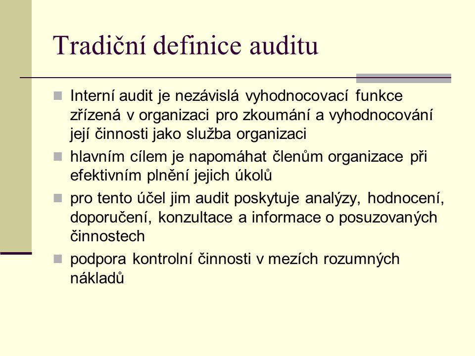 Moderní pojetí interního auditu Interní audit nezávislá, objektivní, ujišťovací a konzultační činnost zaměřená na přidanou hodnotu a zlepšení provozu organizace pomáhá organizaci dosáhnout její cíle  zavádí systematický metodický přístup k hodnocení a zlepšení efektivnosti řízení rizik, řídících a kontrolních procesů