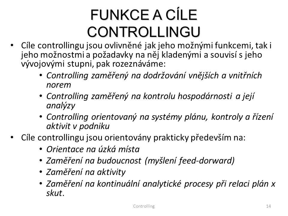 Controlling14 Cíle controllingu jsou ovlivněné jak jeho možnými funkcemi, tak i jeho možnostmi a požadavky na něj kladenými a souvisí s jeho vývojovým