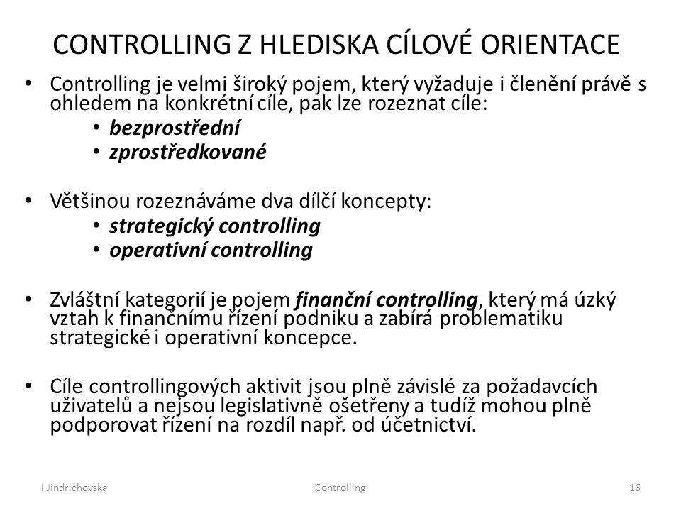 I JindrichovskaControlling16 CONTROLLING Z HLEDISKA CÍLOVÉ ORIENTACE Controlling je velmi široký pojem, který vyžaduje i členění právě s ohledem na ko