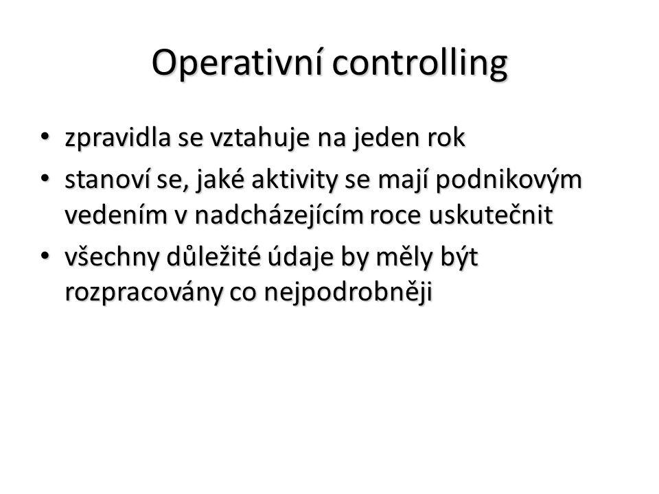 Operativní controlling zpravidla se vztahuje na jeden rok zpravidla se vztahuje na jeden rok stanoví se, jaké aktivity se mají podnikovým vedením v na