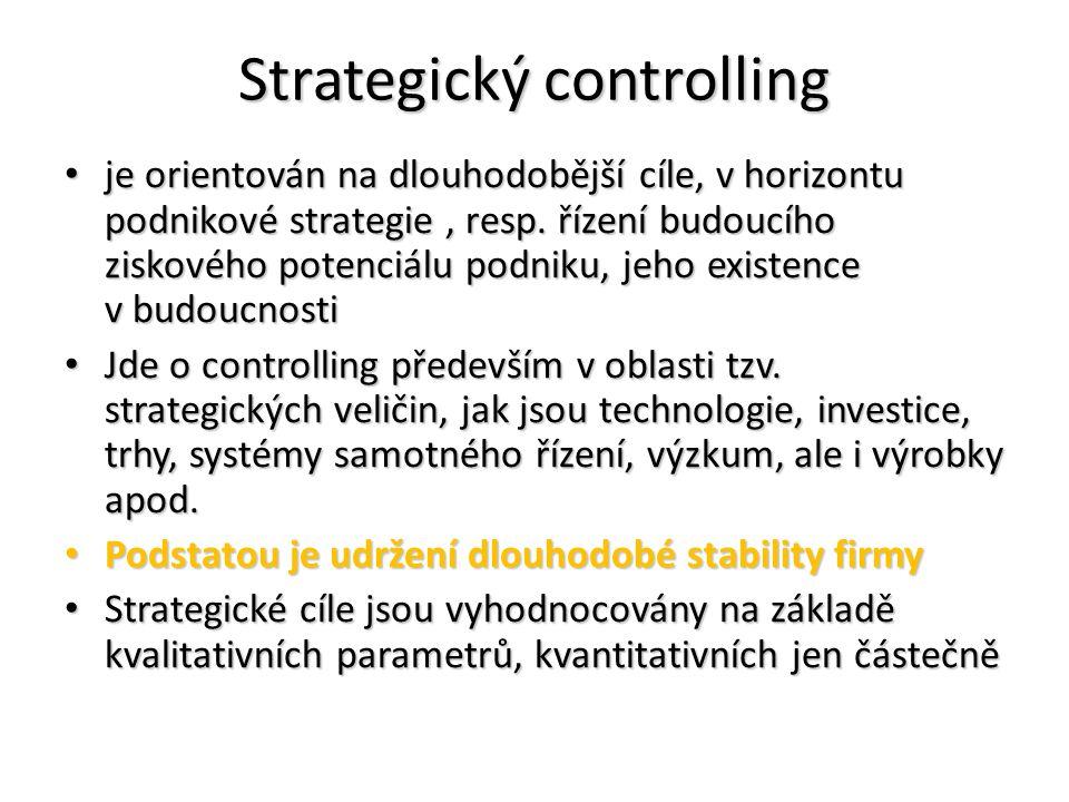 Strategický controlling je orientován na dlouhodobější cíle, v horizontu podnikové strategie, resp. řízení budoucího ziskového potenciálu podniku, jeh