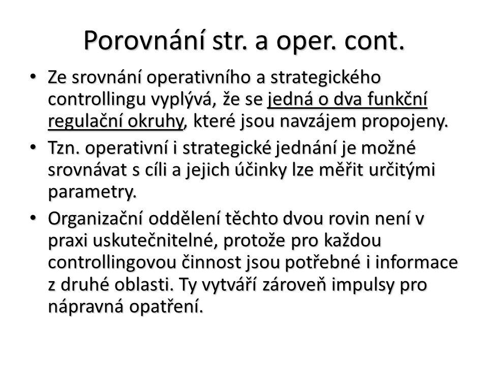 Porovnání str. a oper. cont. Ze srovnání operativního a strategického controllingu vyplývá, že se jedná o dva funkční regulační okruhy, které jsou nav
