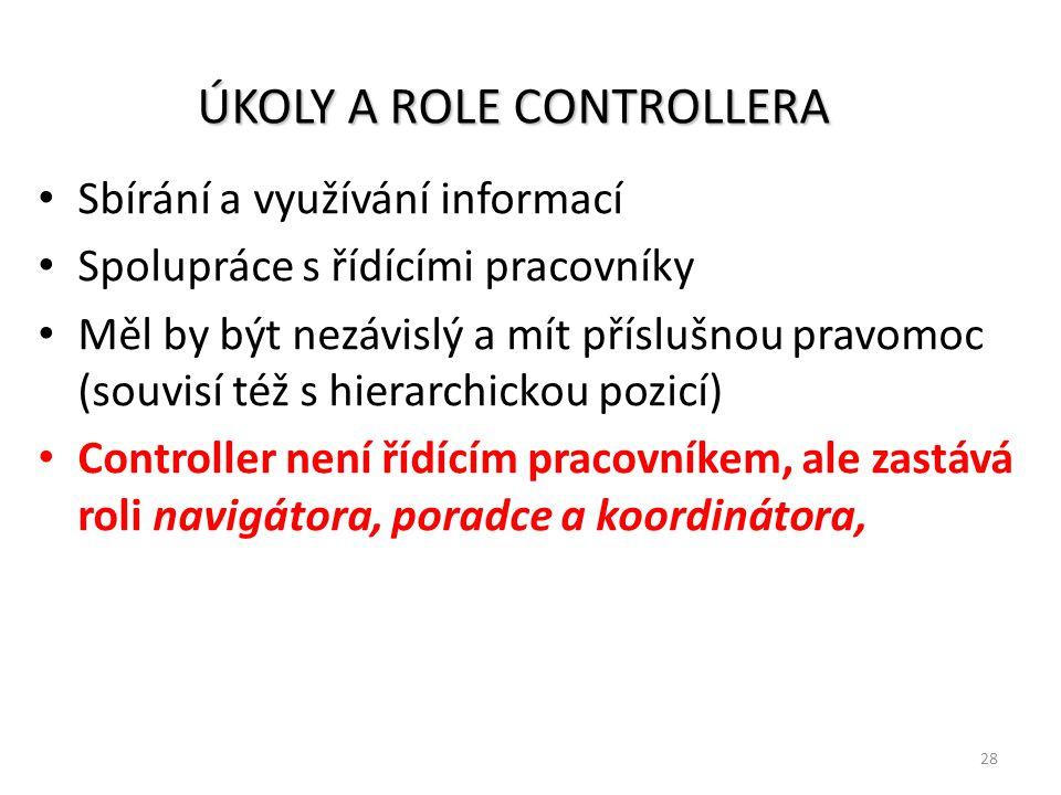 28 ÚKOLY A ROLE CONTROLLERA Sbírání a využívání informací Spolupráce s řídícími pracovníky Měl by být nezávislý a mít příslušnou pravomoc (souvisí též