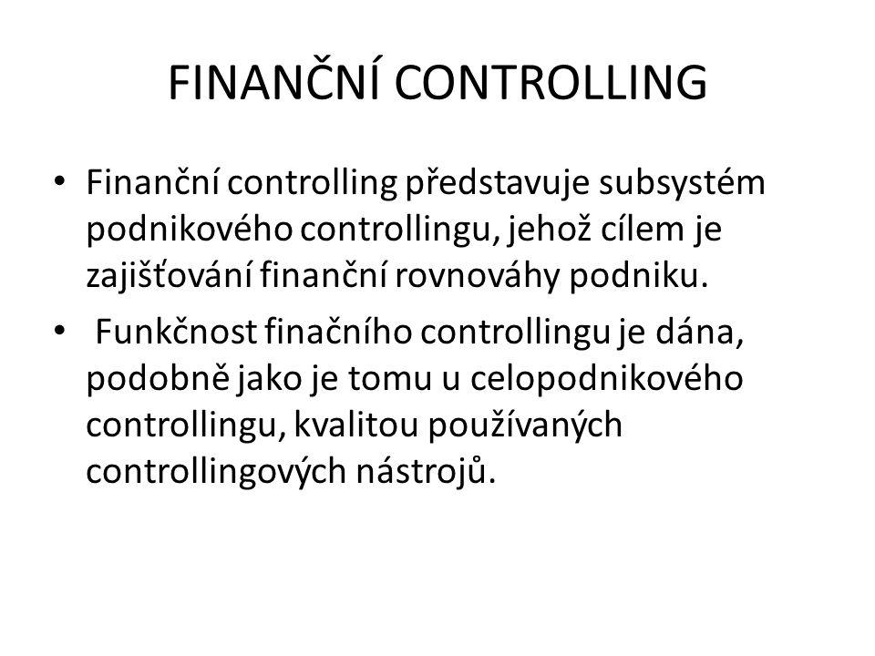FINANČNÍ CONTROLLING Finanční controlling představuje subsystém podnikového controllingu, jehož cílem je zajišťování finanční rovnováhy podniku. Funkč