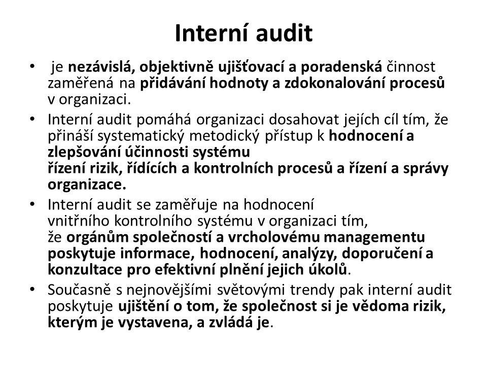Interní audit je nezávislá, objektivně ujišťovací a poradenská činnost zaměřená na přidávání hodnoty a zdokonalování procesů v organizaci. Interní aud