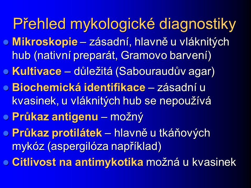 Přehled mykologické diagnostiky Mikroskopie – zásadní, hlavně u vláknitých hub (nativní preparát, Gramovo barvení) Mikroskopie – zásadní, hlavně u vlá