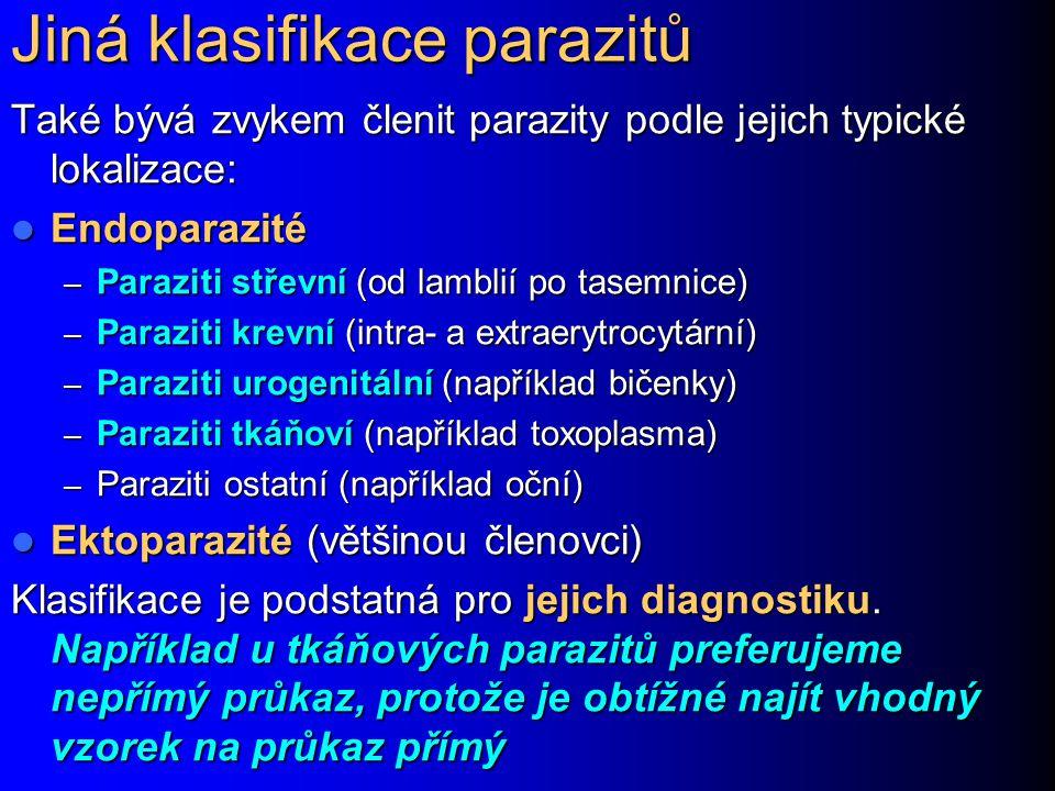 Jiná klasifikace parazitů Také bývá zvykem členit parazity podle jejich typické lokalizace: Endoparazité Endoparazité – Paraziti střevní (od lamblií p
