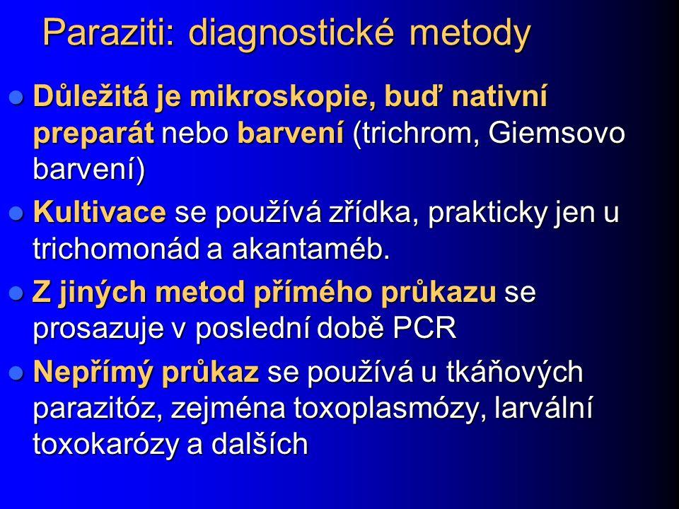 Paraziti: diagnostické metody Důležitá je mikroskopie, buď nativní preparát nebo barvení (trichrom, Giemsovo barvení) Důležitá je mikroskopie, buď nat