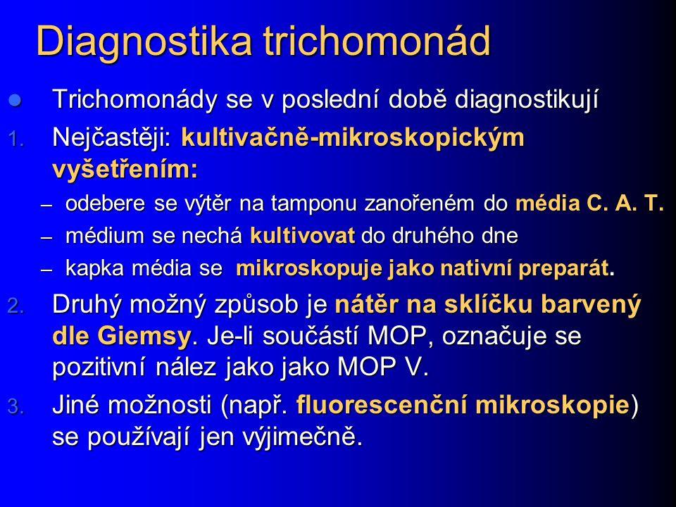Diagnostika trichomonád Trichomonády se v poslední době diagnostikují Trichomonády se v poslední době diagnostikují 1. Nejčastěji: kultivačně-mikrosko