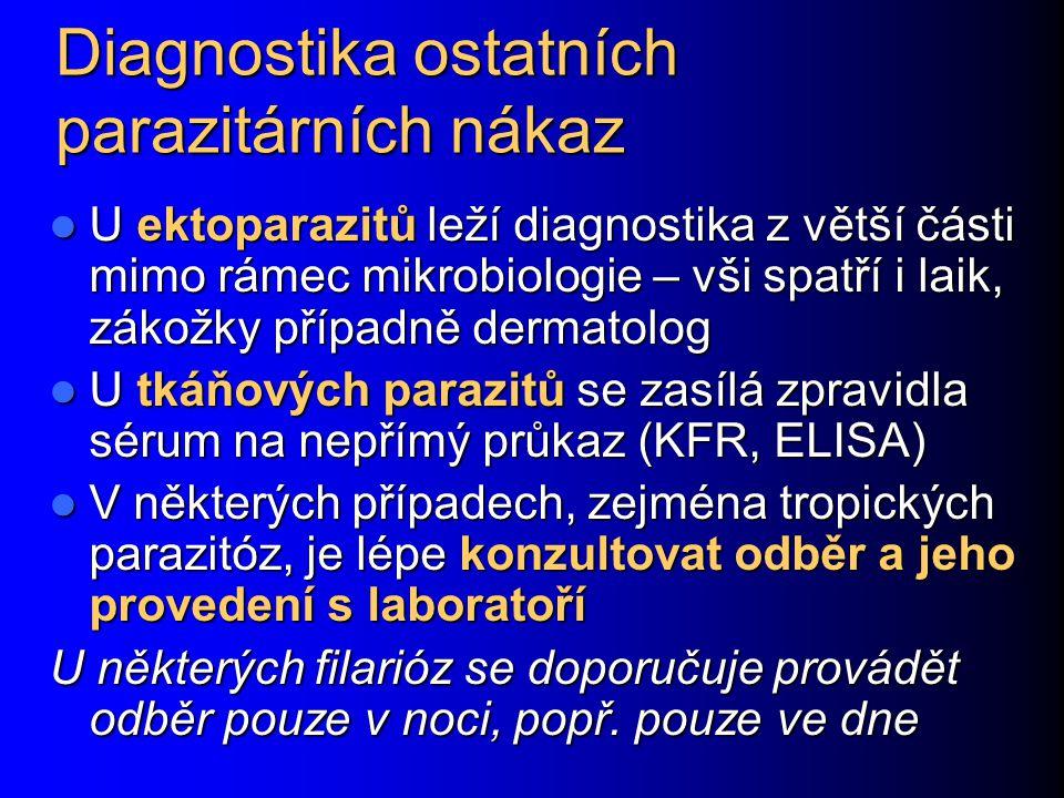 Diagnostika ostatních parazitárních nákaz U ektoparazitů leží diagnostika z větší části mimo rámec mikrobiologie – vši spatří i laik, zákožky případně