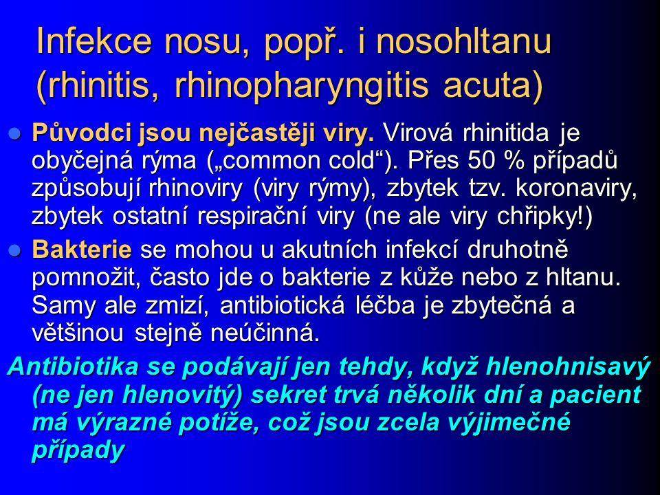Rozdělení zánětů plic (podle toho různí původci) Akutní – komunitní: ambulantní pacienti u původně zdravých (ještě lze rozdělit – u dětí se poněkud liší poměr původců) u původně zdravých (ještě lze rozdělit – u dětí se poněkud liší poměr původců) u oslabených osob a imunodeficitů u oslabených osob a imunodeficitů po kontaktu se zvířaty po kontaktu se zvířaty Akutní – nemocniční ventilátorové (pacienti s umělou plicní ventilací) ventilátorové (pacienti s umělou plicní ventilací) časné (do 4.